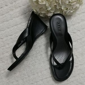 "ana Amelia Wedge Thong Sandals 4"" Heel Black sz 8"